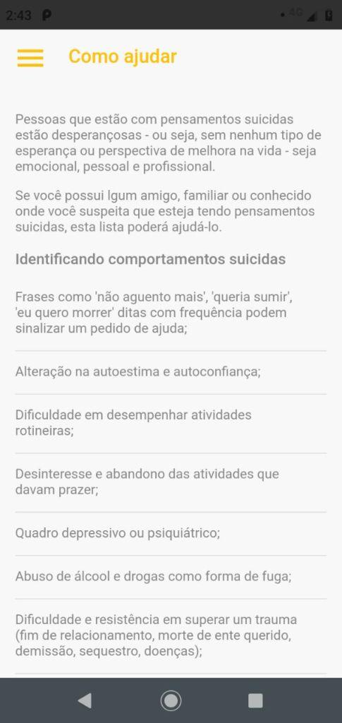 Aplicativo gratuito ajuda na prevenção de suicídio 5