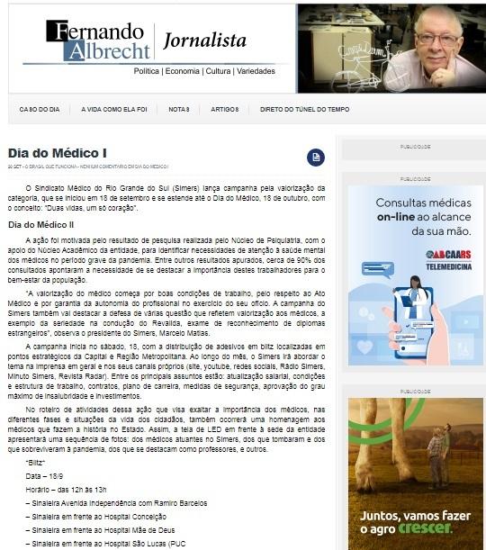 Imprensa repercute campanha do Simers pela valorização do médico 3