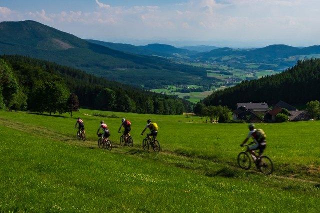 Mountainbiker in Abfahrt ins Yspertal.