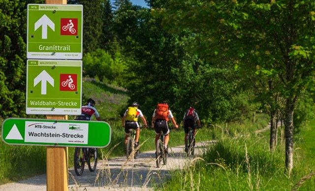 Wegweiser am Granittrail mit Mountainbiker im Hintergrund.