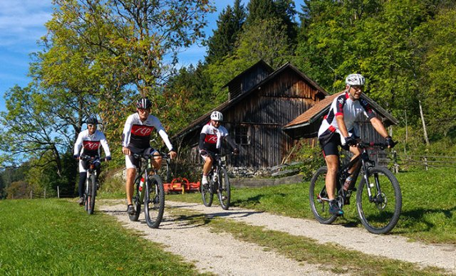 Vier Mountainbiker auf einem Schotterweg.