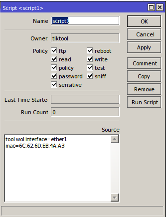 mikrotik skript WOL