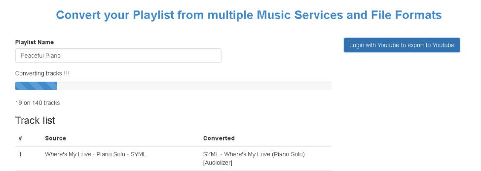 vpravo se nachází tlačítko pro přihlášení k youtube a ke zkonvertování playlistů