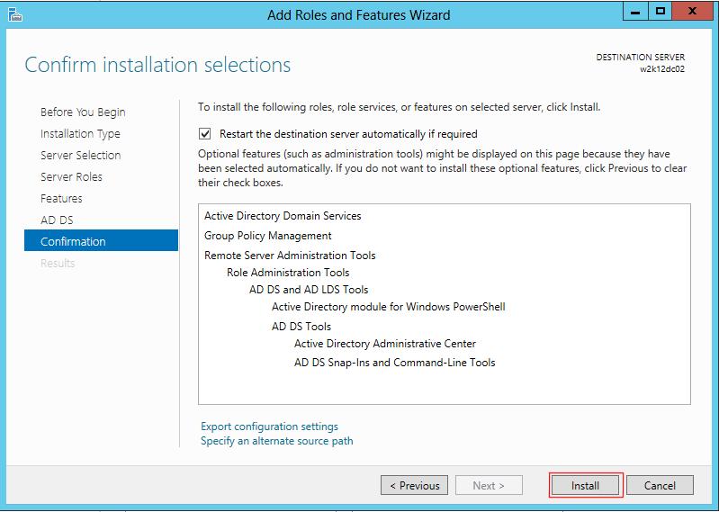 potvrzení instalace windwos server