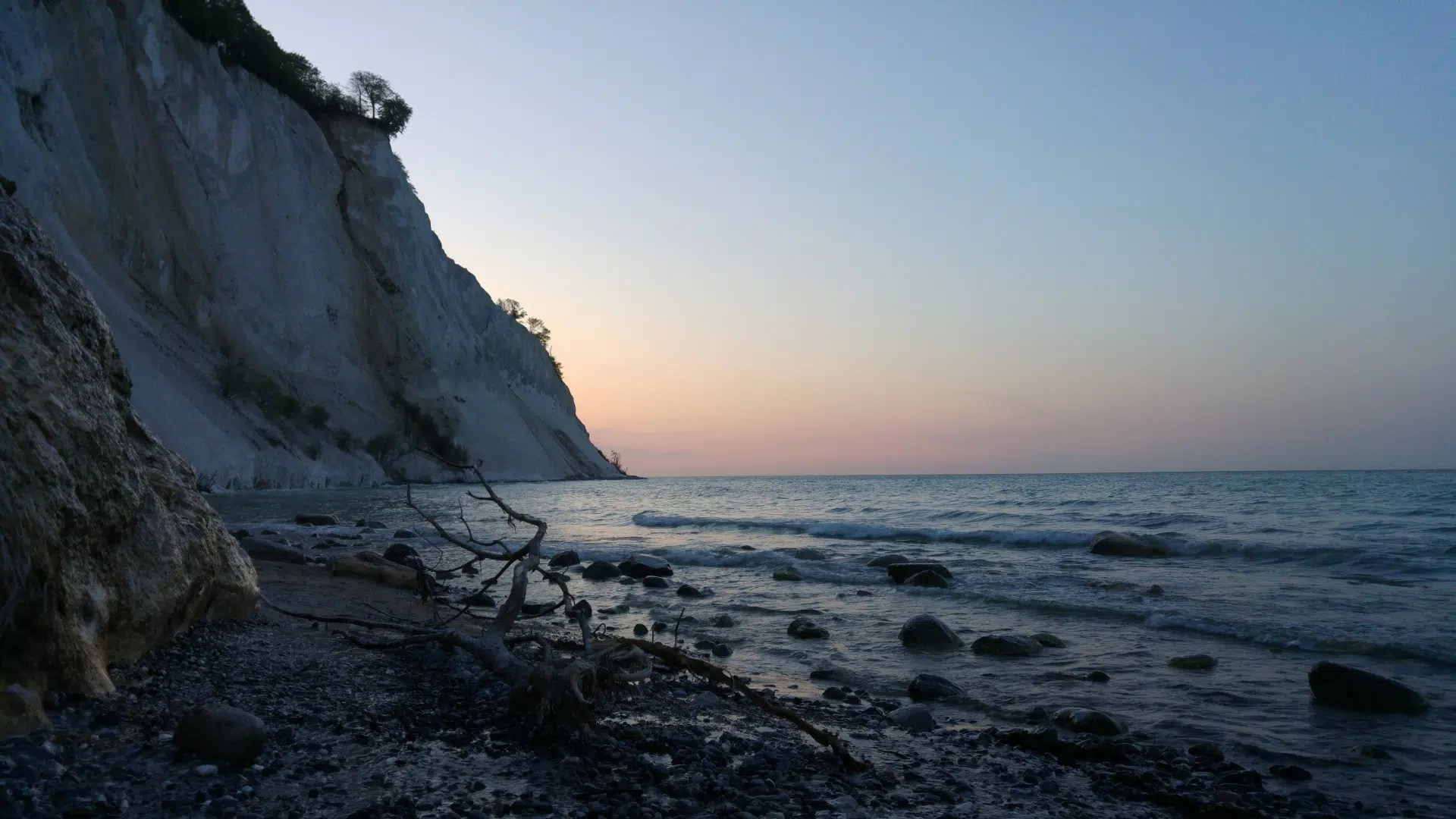 Sonnenuntergang an Moens Klint - der Weg hat sich gelohnt.