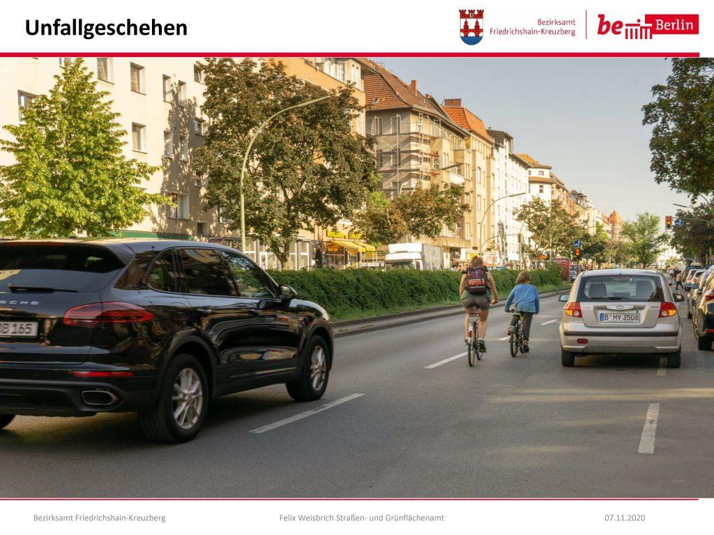 Gefährliche Situationen ohne Radfahrschutzstreifen in Berlin