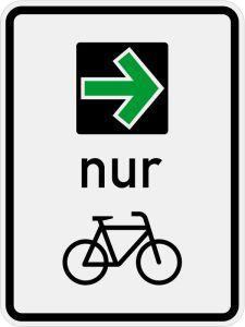 """Zeichen 721: """"Grünpfeilschild mit Beschränkung auf den Radverkehr"""""""