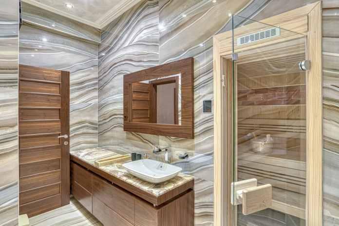 Kupatilo i sauna, mermer i drvo, Lux dupleks na prodaju, Kamin Nekretnine Budva, Profesionalni fotograf, Foto Radević
