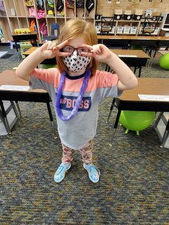 1. Marley Cox shows her spirit for the House of Visionary during House Sorting Day at Belle Heth Elementary School.