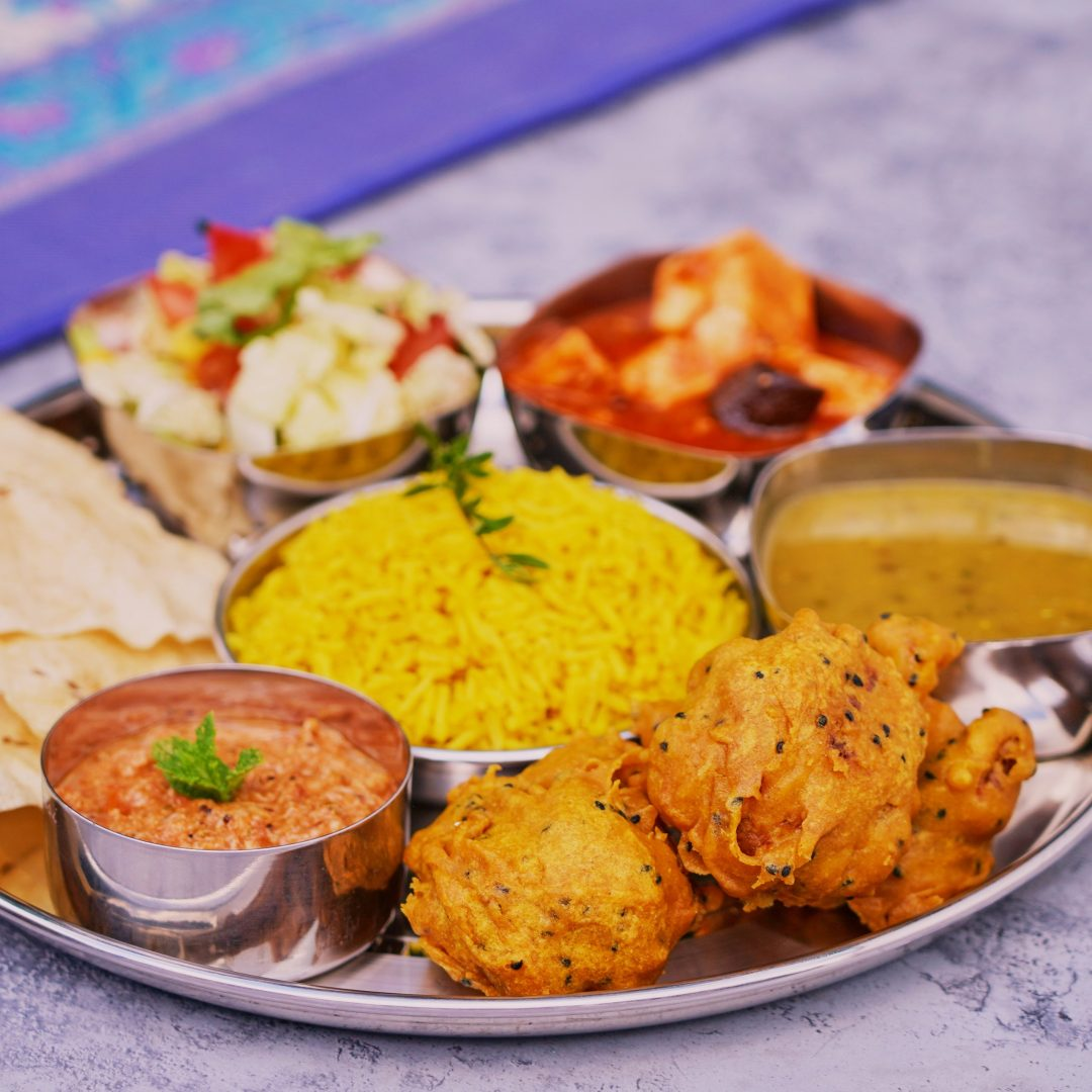 plate vegetarian indian food