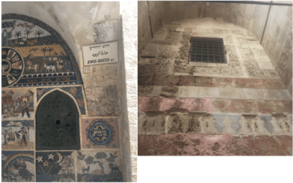 A mosaic facade in the Jewish quarter compared to the disrepair of the Tunshuq Place