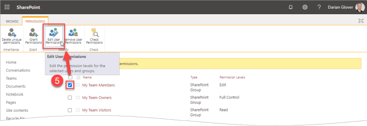 A screen capture of navigating to Edit User Permissions for the Members group.