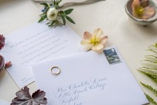 Stationery suite details with button holes and ring