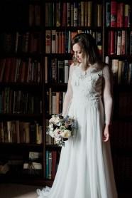 Bridal portrait in Askham Hall library