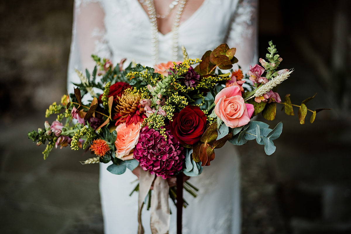 Colourful bridal bouquet photographed by Lake District Wedding Photographer