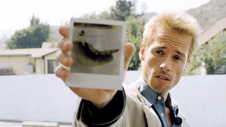 This is a film still from MEMENTO screening at the reopened Genesis Cinema in London.