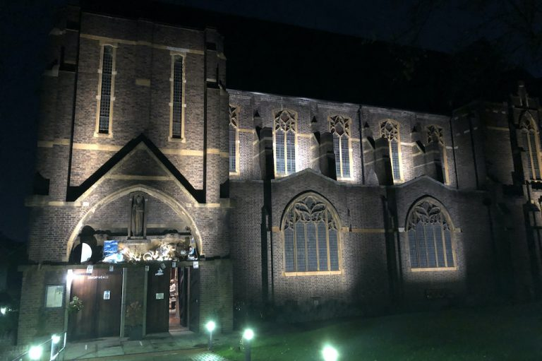 This is a picture of the exterior of St Barnabas Church, Ealing at night before the screening of THE PHANTOM OF THE OPERA (1925) for Halloween 2020.