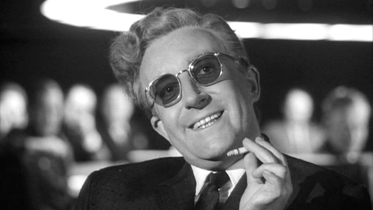 This is a film still from DR. STRANGELOVE presented by Cine-Real 16MM at The Castle Cinema (27 & 30 MAY).