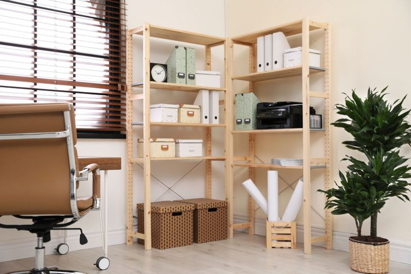 Modern home workplace with wooden storage