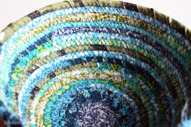 Scrappy Fabric Bowl in Blues and Greens | Radiant Home Studio