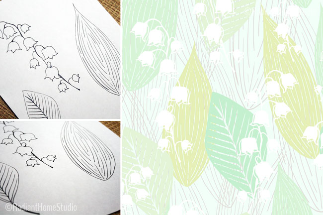 Sketchbook to Pattern | Leafy Lilies | Radiant Home Studio