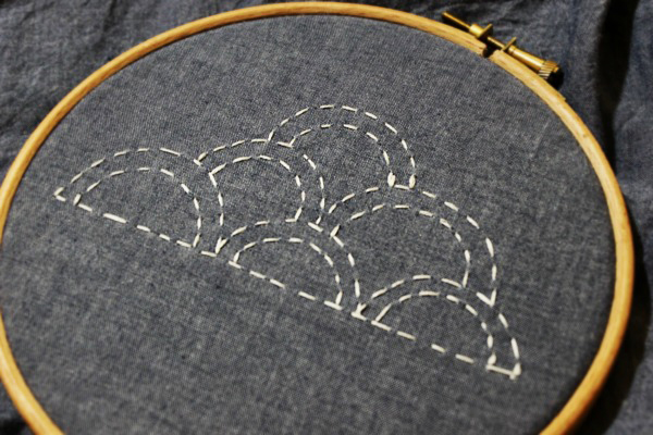 Small Sashiko Embroidery Cloud Pattern | via Craftsy | Radiant Home Studio