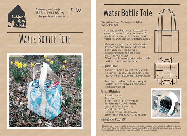 Water Bottle Tote PDF Sewing Pattern | Radiant Home Studio
