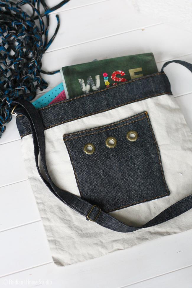 Denim Pocket with Grommets and Denim Shoulder Strap  Tote Bag Upgrade   Radiant Home Studio