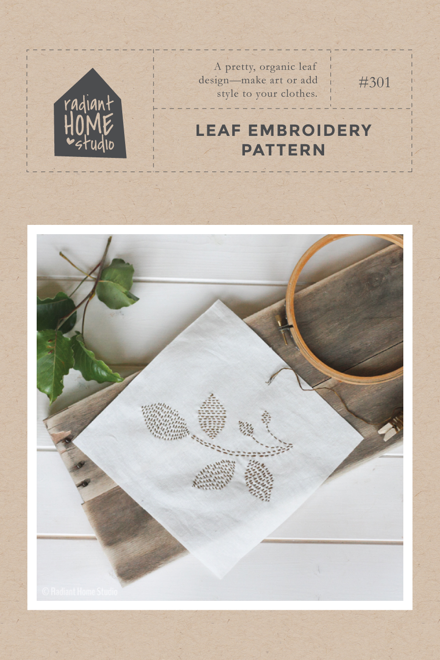 Leaf Embroidery Pattern | Radiant Home Studio