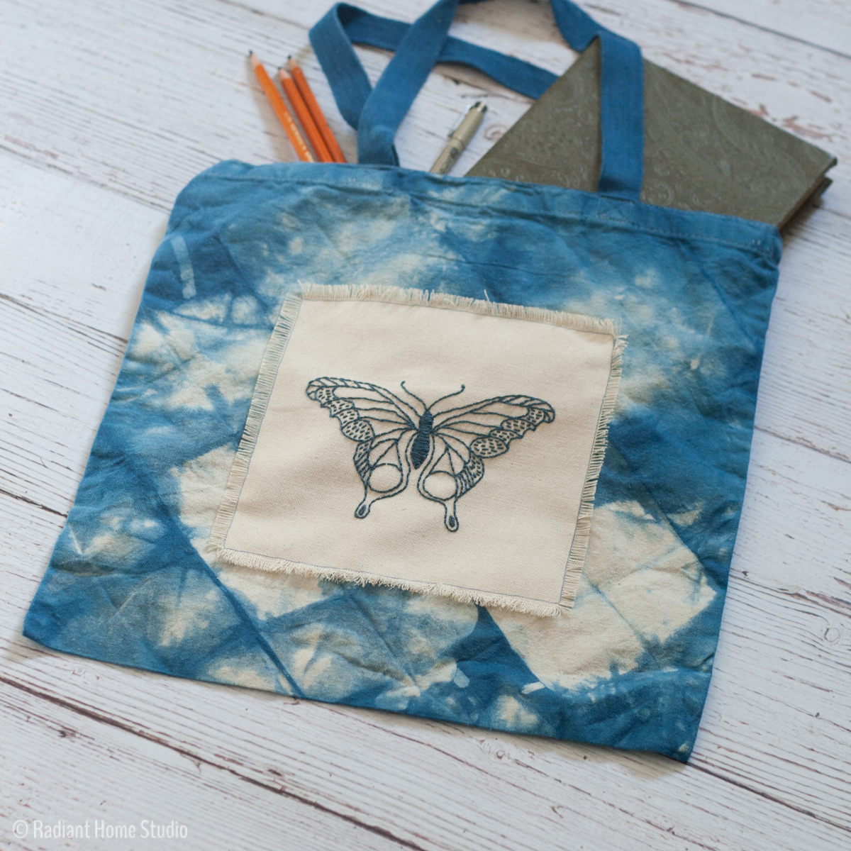 Indigo Embroidered Tote Bag | Butterfly Pattern from I Heart Stitch Art | Radiant Home Studio