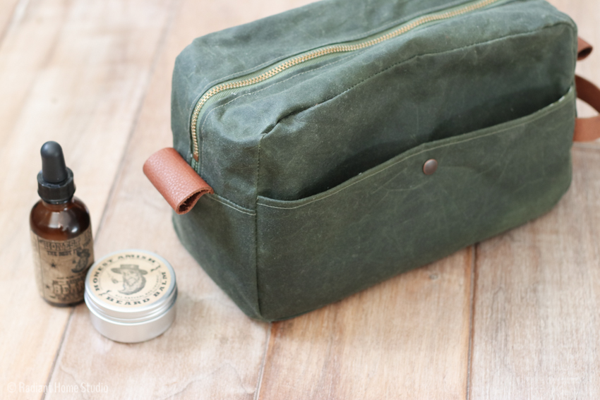 Waxed Canvas & Leather Zipper Bag | Gentlemen's Travel Case by Betz White | Radiant Home Studio