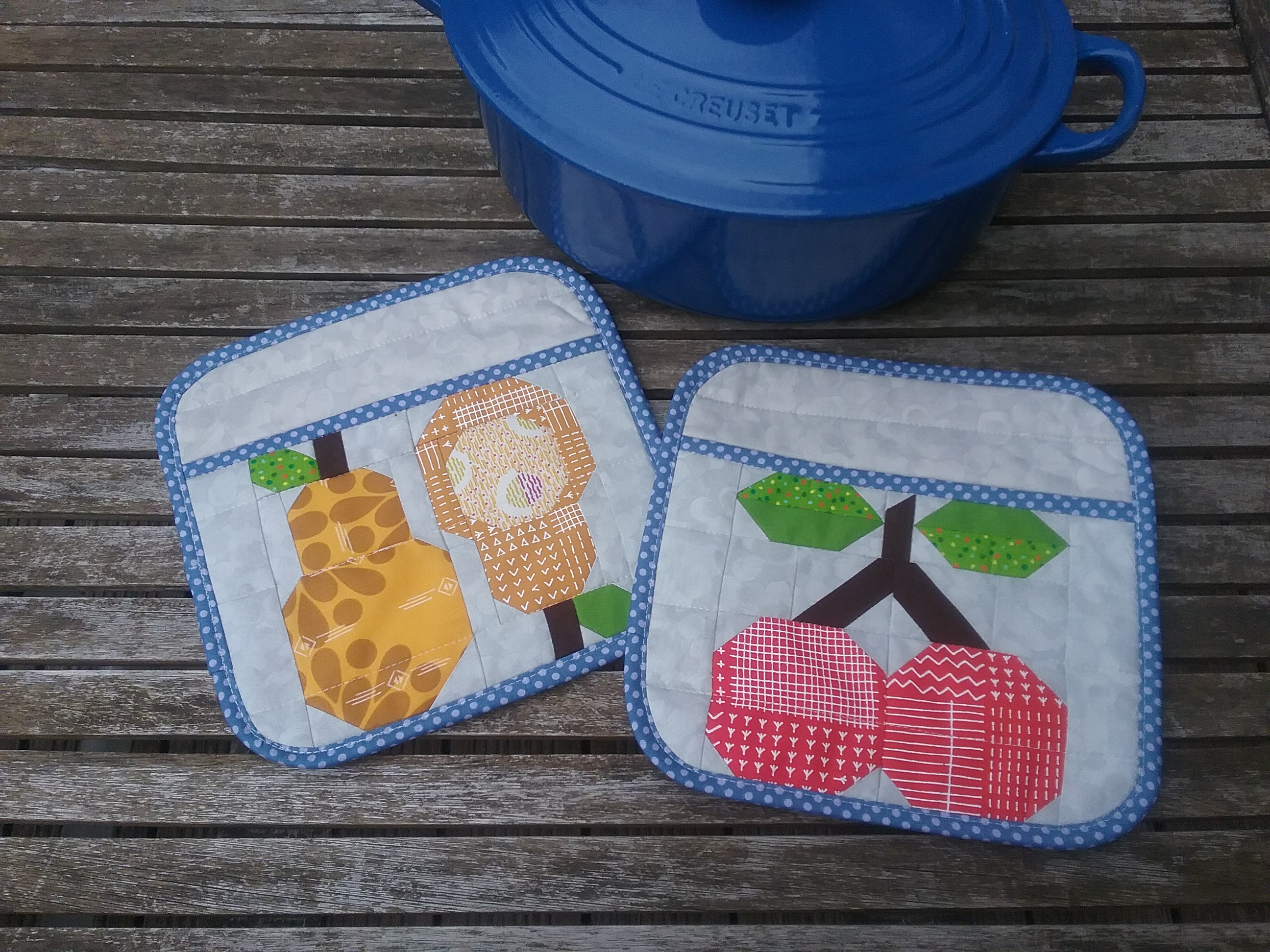 Flower City Potholder Set | Kitchen Gifts | Farm Girl Vintage Quilt Blocks | Paper Pieced | Radiant Home Studio