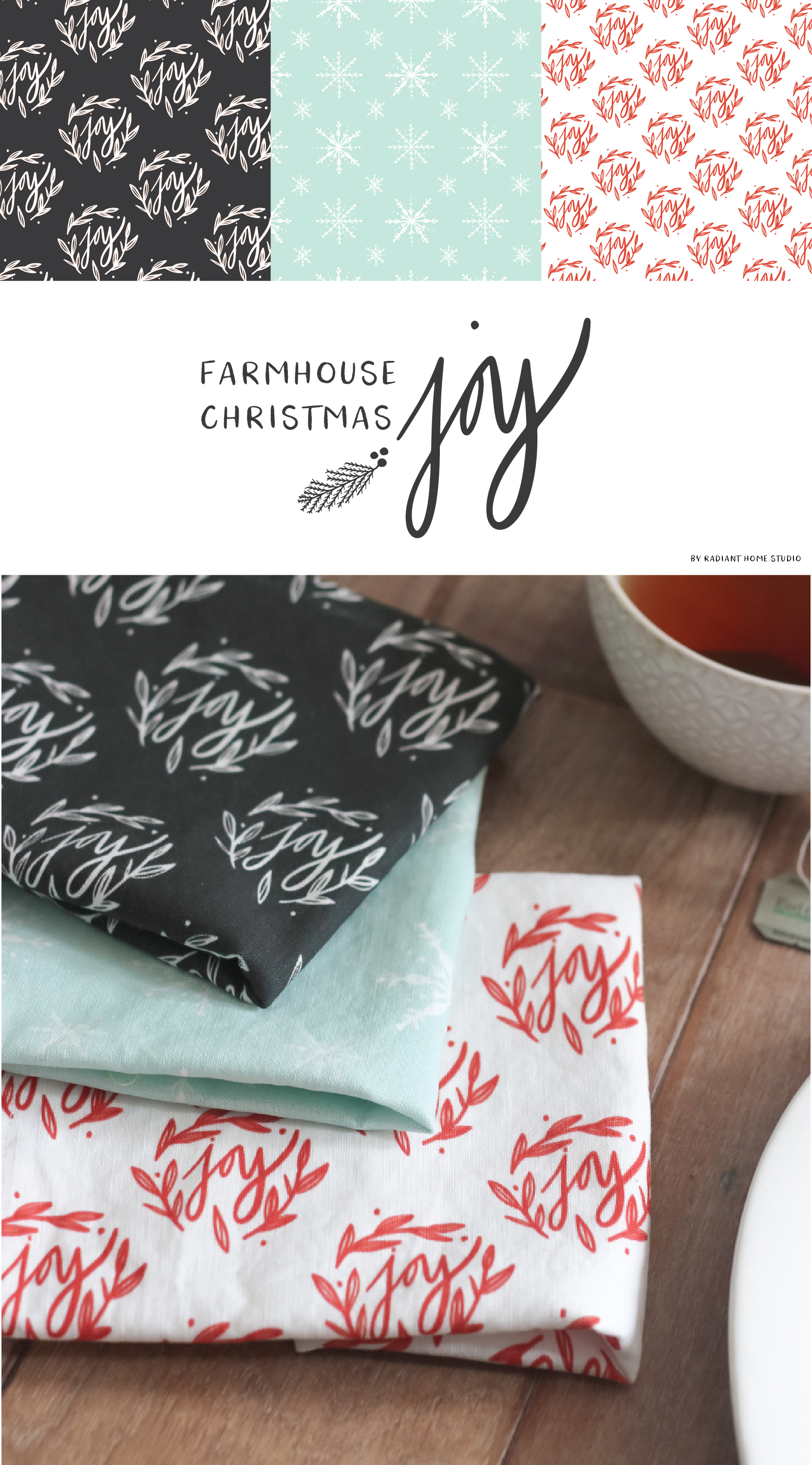 Farmhouse Christmas Joy fabric collection & tea towels for holiday decor | by Radiant Home Studio on Spoonflower