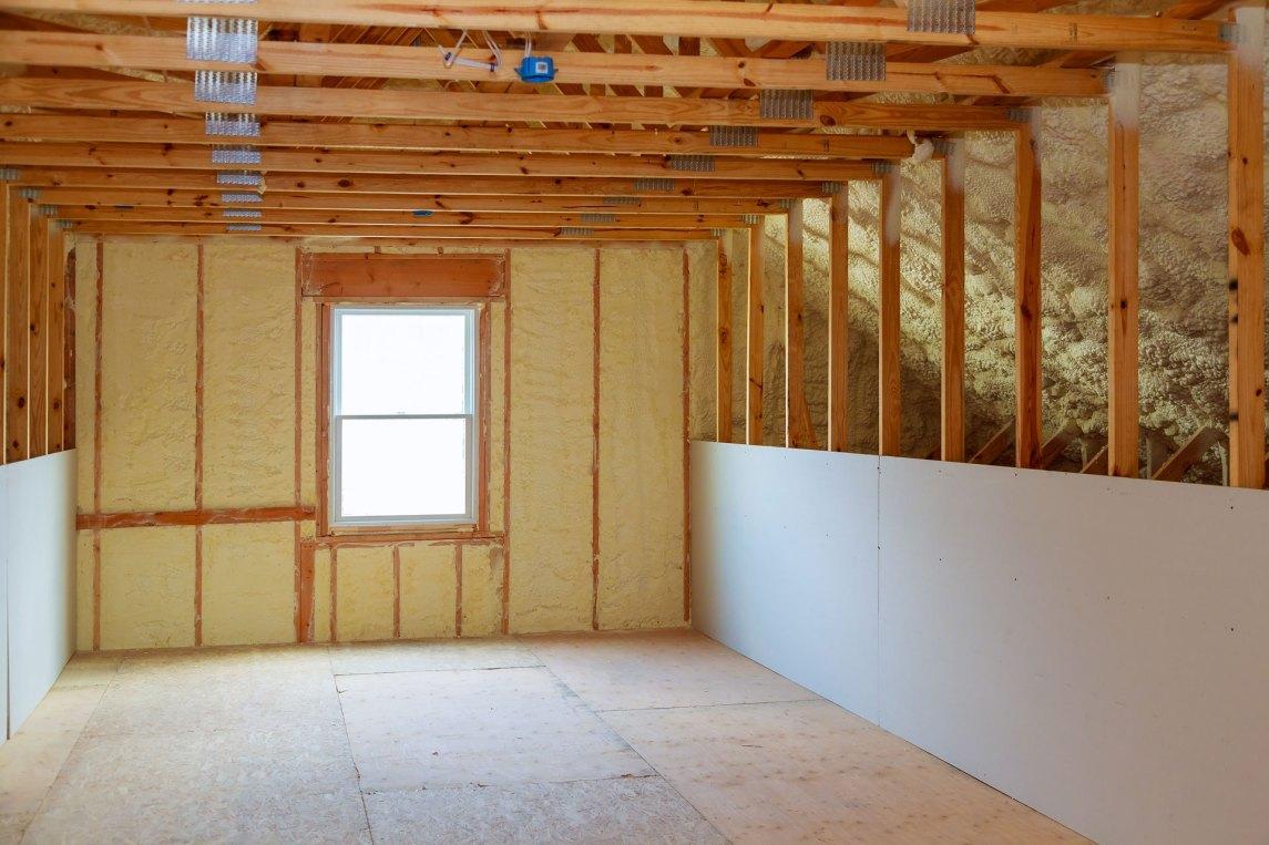 Spray foam for air sealing a home