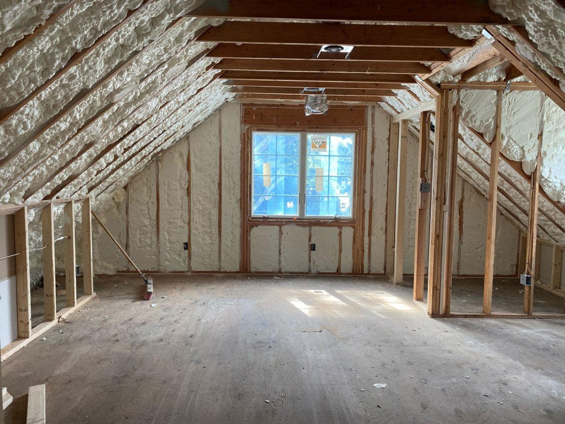 Open cell spray foam installation in Medford