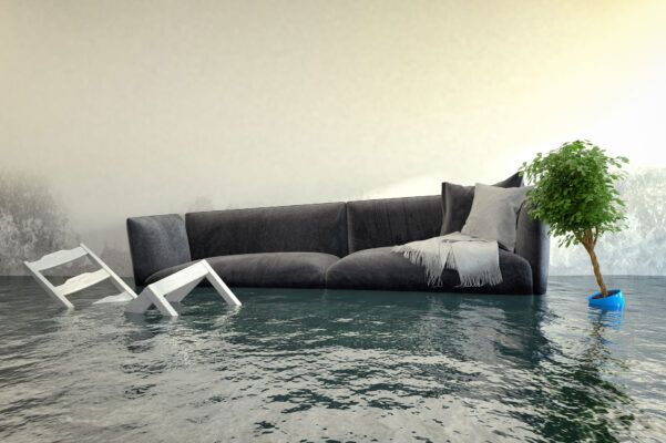 completely flooded living room with floating couch