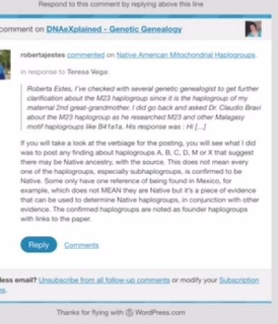 Roberta Estes response to me on December 9, 2014
