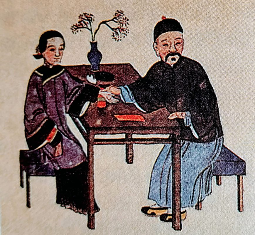 TCM doctor & patient Qing Dynasty. This picture portrays how important it is to look at each individual patient to help heal them and keep them healthy.