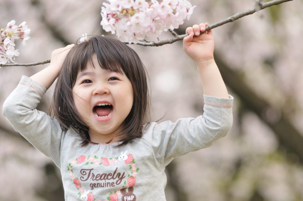 Toddler playing with cherry blossoms in the spring. Children grow more in the spring. Your yearly feeding schedule should provide foods that help them with this growth spurt.