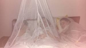 Makeshift mosquito nets in our east coast (Trincomallee) beach shack on our first free weekend here.