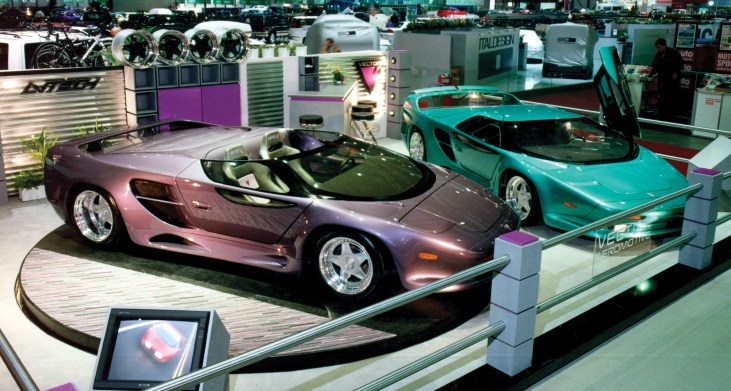 The Vector Avtech WX-3 prototypes on display at the Geneva Motor Show in 1993.