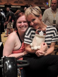 Getting up close and personal with Emma Caulfield and Grumpy Cay. Who knew we could all fit in the scooter.