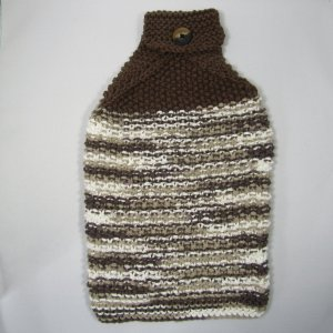 Brown Knit towel with button to latch onto handle or bar
