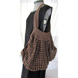 Brown Crochet Cotton French Market Bag