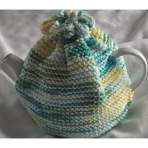 Blue Green Knit Teapot Cozie