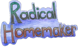Radical Homemaker logo, purple, blue and green