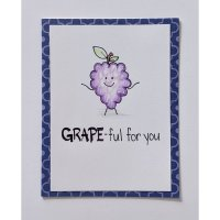 "Handmade card with a grape saying ""grape-ful for you"" by LAKdesign"