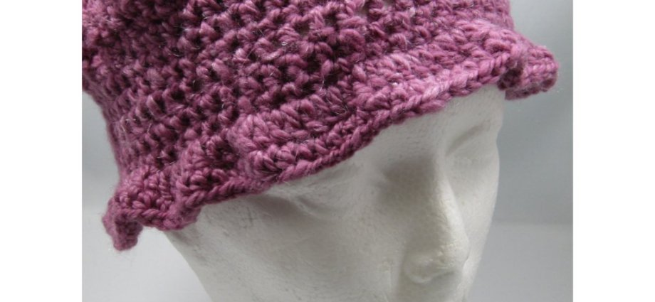 Crochet hat made with handspun rose coloured wool