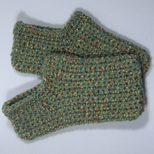 Boxed Crochet Slippers Green Medium