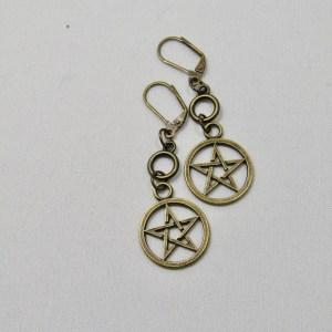 Brass Pentacle Drop Earrings